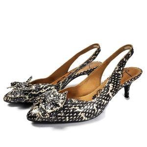 Lanvin Genuine Snakeskin Kitten Heel Slingbacks